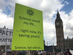 Protesters on the March for Science reach Parliament Square