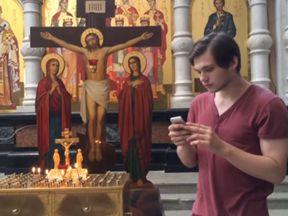 Ruslan Sokolovsky was filmed using the app inside a Russian Orthodox church