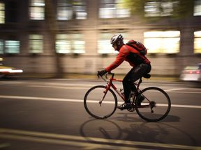 Cycling commuter in London. File picture