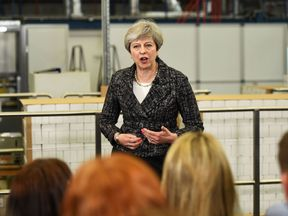 Theresa May speaks during a campaign event in her Maidenhead constituency