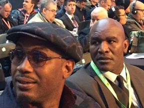 Lennox Lewis and Evander Holyfield‏ ringside. Pic: Sky Sports