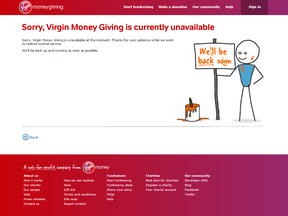 Virgin Money Giving says it is aware of the 'performance issue'
