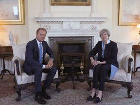 Donald Tusk and Theresa May at Downing Street