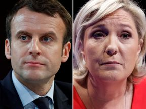 A combination picture shows portraits of the candidates who will run in the second round in the 2017 French presidential election, Emmanuel Macron (L), head of the political movement En Marche !, or Onwards !, and Marine Le Pen, French National Front (FN) political party leader