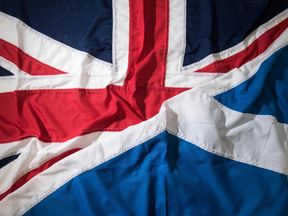 A picture shows flags arranged as an illustration, a Saltire and a Union Flag