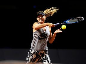 Maria Sharapova during training before her match at the Porsche Tennis Grand Prix