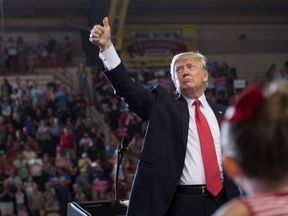 US President Donald Trump addresses a 'Make America Great Again' rally in Harrisburg, PA, April 29, 2017, marking his 100th day in office