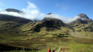 Three Sisters mountains in Glencoe Valley, Scotland