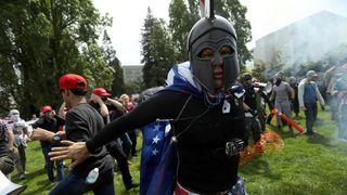 A pro-Trump protester