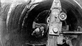 A coal cutting machine at work.