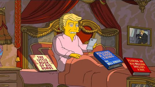 Trump in a Simpsons animation about his first 100 days as president