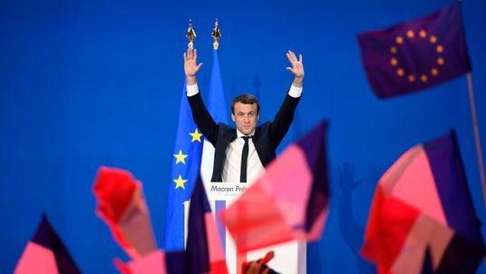 Emmanuel Macron addresses supporters in Paris