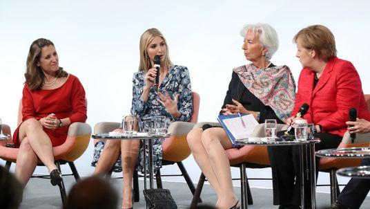 Ivanka Trump speaking alongside Christine Lagarde and Angela Merkel