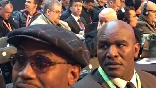 Lennox Lewis and Evander Holyfield ringside. Pic: Sky Sports