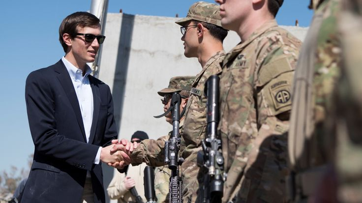 Jared Kushner meets with members of a US forward operating base in Iraq