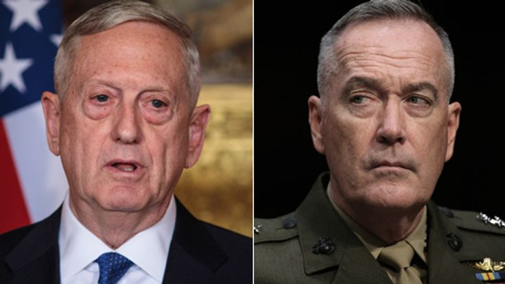 General Joseph Dunsford (r) and Secretary of Defense James Mattis