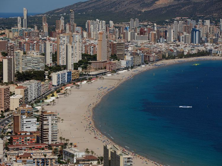 Benidorm, on the Costa Blanca, is packed with bar, nightclubs and food outlets popular with British tourists.