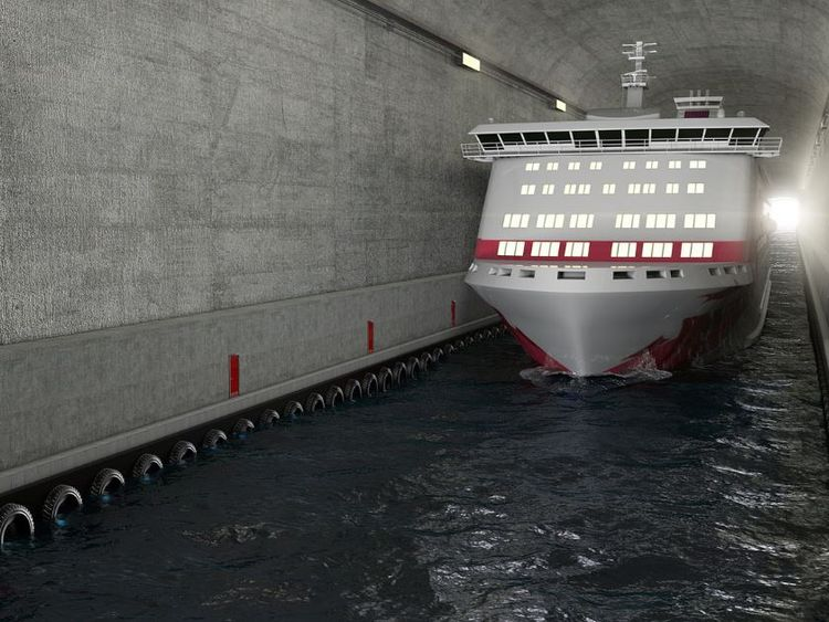A ship going through the tunnel. Photos by Kystverket/ Norwegian Coastal Administration