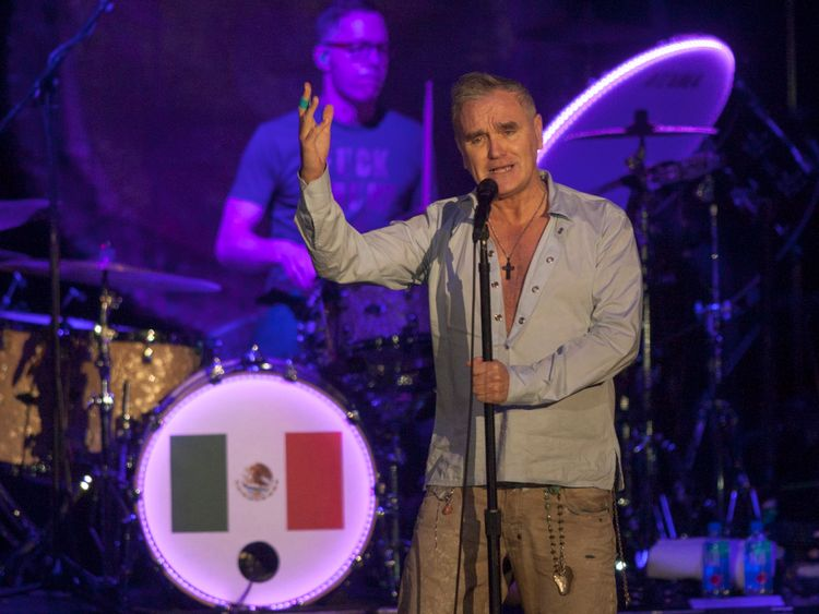 Morrissey on stage at a gig last month