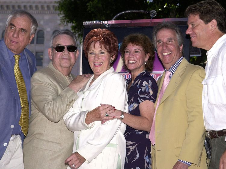 Happy Days' cast members: Marion Ross, centre,  director Garry Marshall, left, Tom Bosley, Erin Moran, Henry Winkler and Anson Williams
