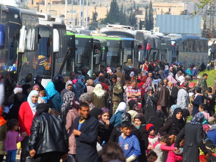 Thousands of people have been stranded near Aleppo