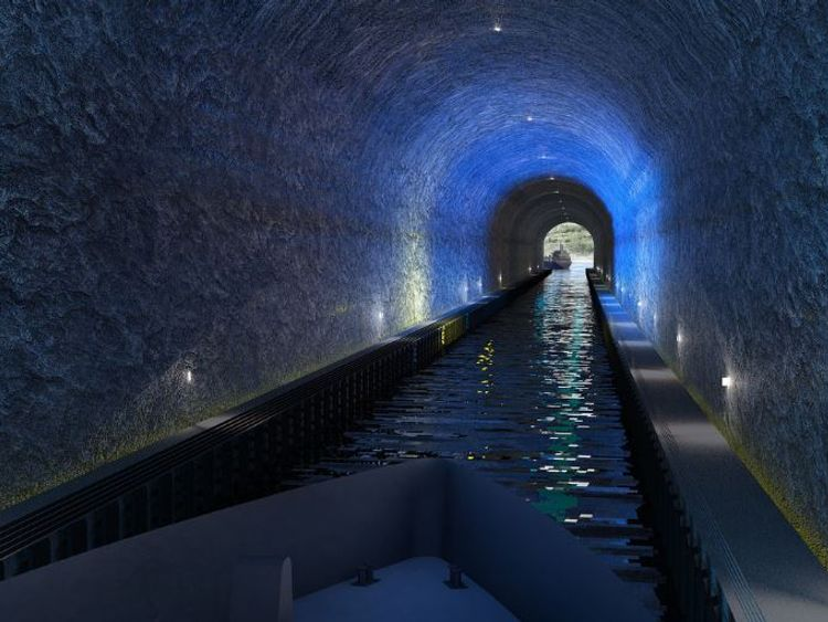 A simulated image of the tunnel. Photos by Kystverket/ Norwegian Coastal Administration