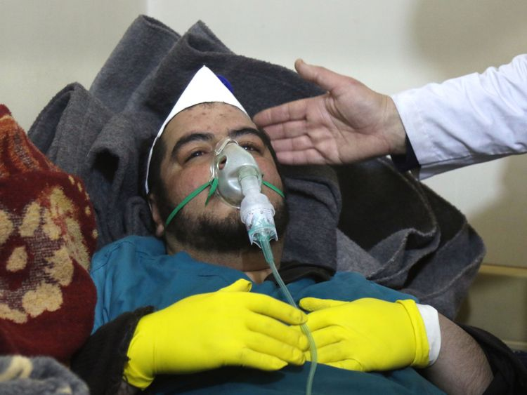 A Syrian man receives treatment following a suspected toxic gas attack in Khan Sheikhun
