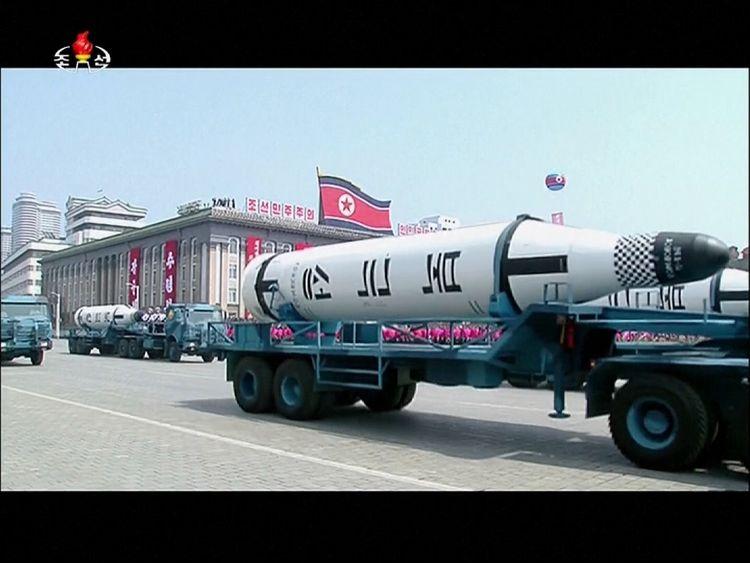 Missiles at a parade in Pyongyang, North Korea