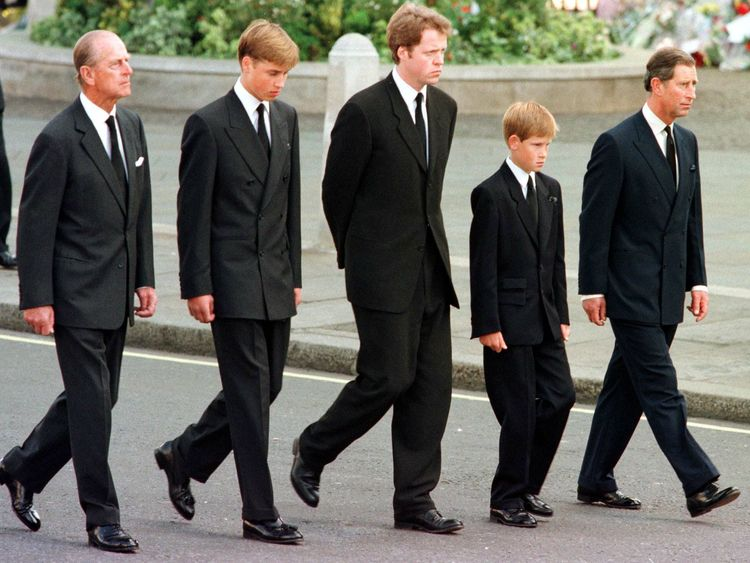 Prince Harry (second right) was just 12 when his mother Princess Diana was buried