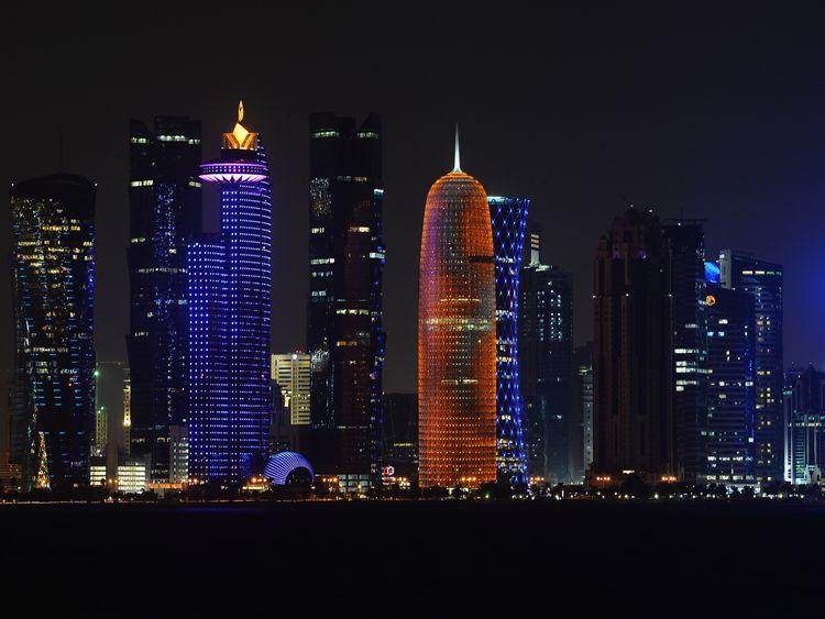 The illuminate skyline of Doha is seen on January 7, 2014 in Doha, Qatar