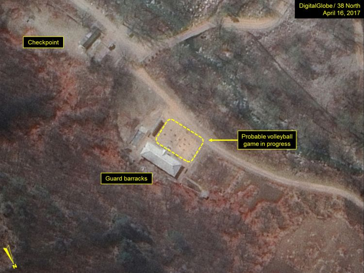 A probable volleyball game seen at the guard barracks. Pic: Digital Globe Inc / 38 North