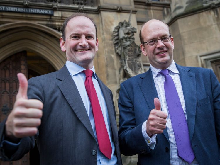 Mark Reckless and Douglas Carswell pose outside the Houses of Parliament after being elected UKIP MPs