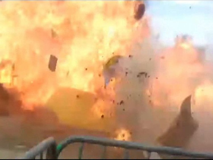 An accidental explosion in a bonfire on Saturday at a town fair north of Paris injured 18 people, including three children, as the festive spring event turned into chaos, authorities said. UGC APTN. Mandatory on-screen credit to Sylla Mohammed