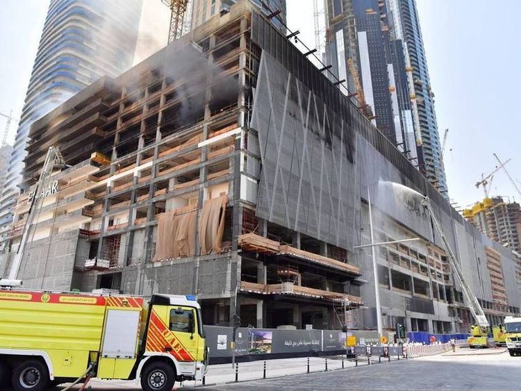 The scene of a fire in a Dubai high-rise under construction. Pic: Dubai Civil Defence