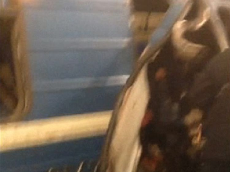 The metal doors of a carriage appeared to have been ripped apart by the explosion