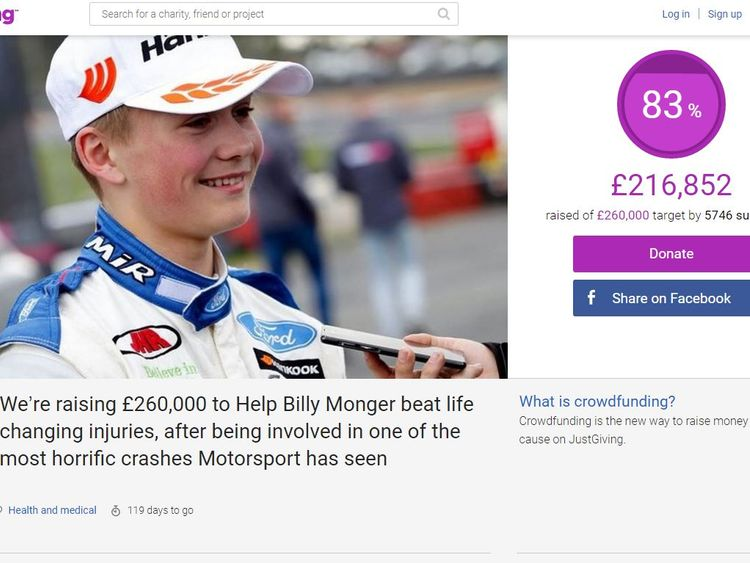 This crowdfunding page has been set up to help Billy cope with his injuries