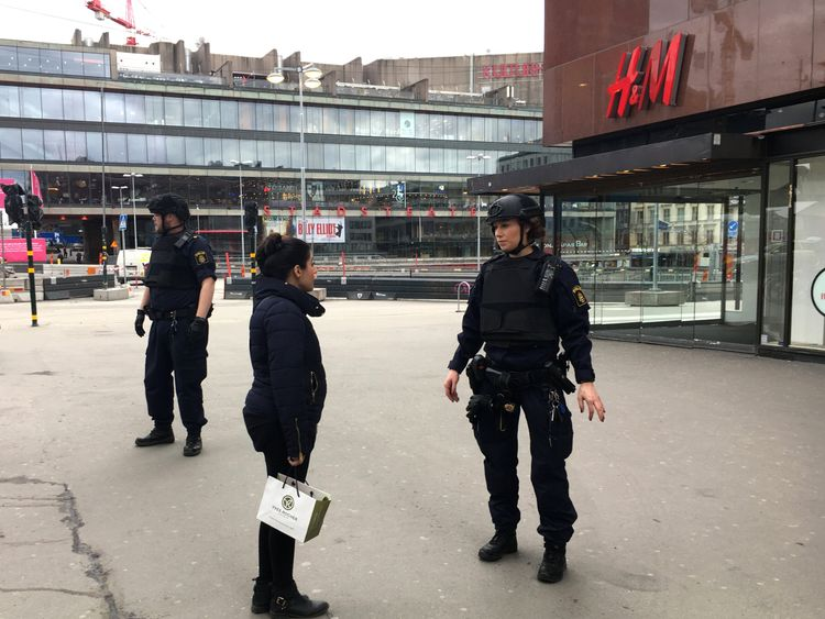 Police officers in the centre of Stockholm