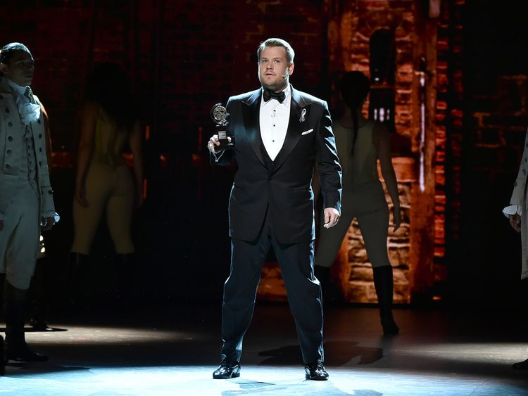 Corden spoofed Hamilton in his opening monologue at the Tony Awards