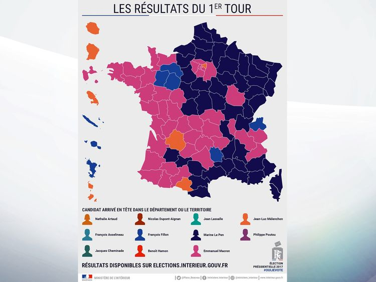 A map showing how France voted with Macron shaded pink, Le Pen (purple), Fillon (blue) and Melenchon (orange).
