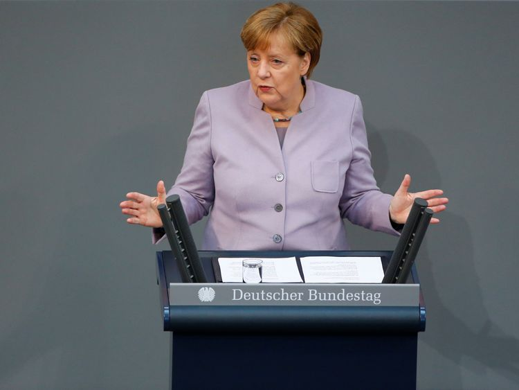 Angela Merkel addressing the lower house of Germany's Parliament on Thursday