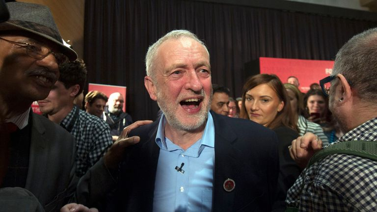 Mr Corbyn after his speech in east London