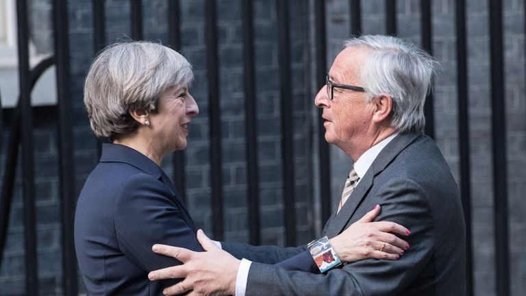 Theresa May welcomes Jean-Claude Juncker to Downing Street