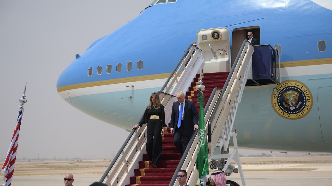Donald Trump and Melania Trump step off Air Force One