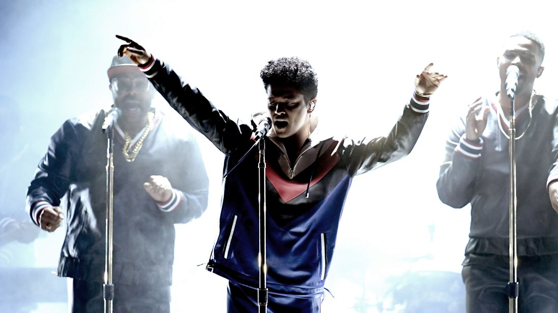 Bruno Mars performs onstage during The 59th GRAMMY Awards