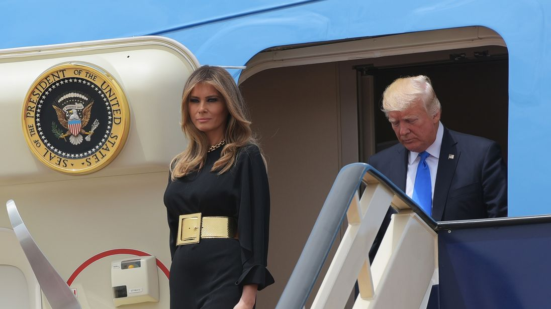 First Lady Melania Trump step off Air Force One upon arrival at King Khalid International Airport