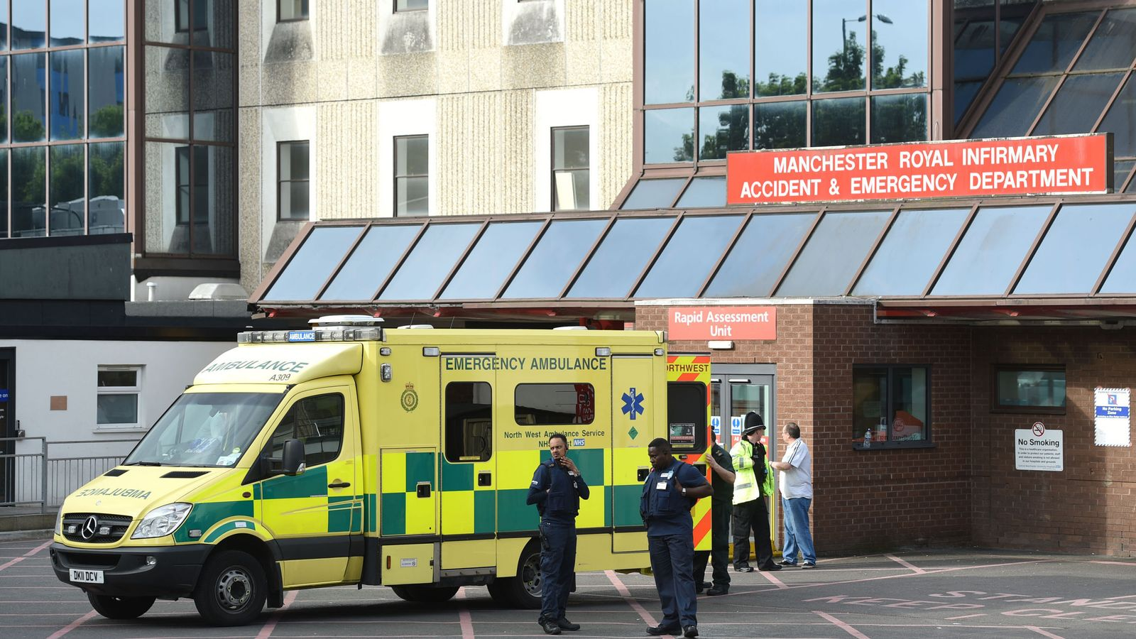 The scene at Manchester Royal Infirmary