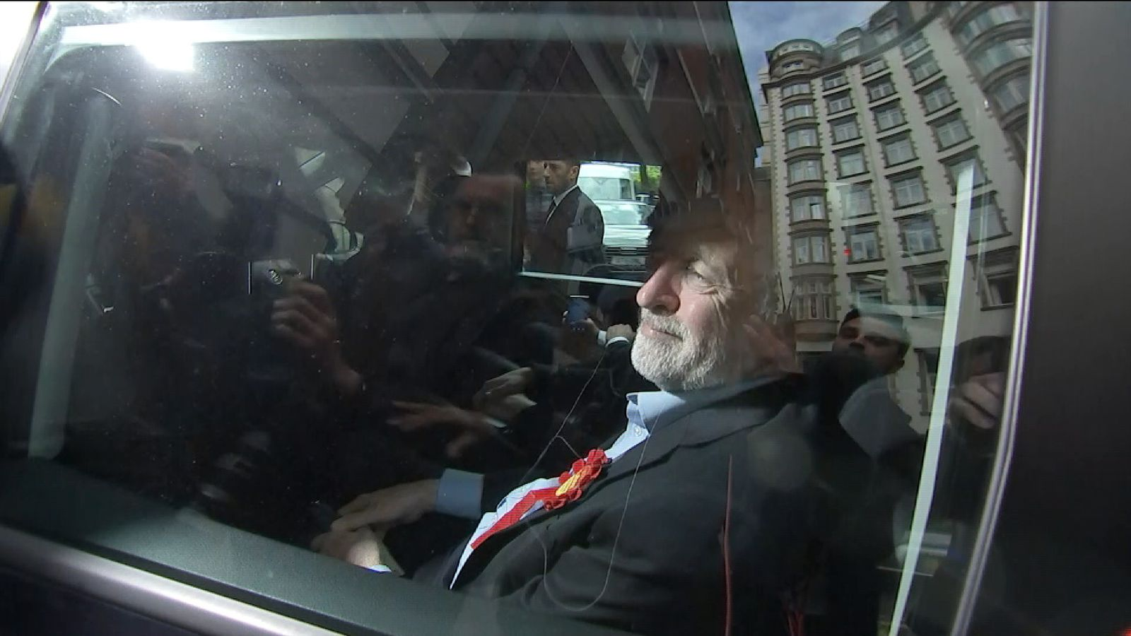 Jeremy Corbyn's car runs over a BBC cameraman's foot
