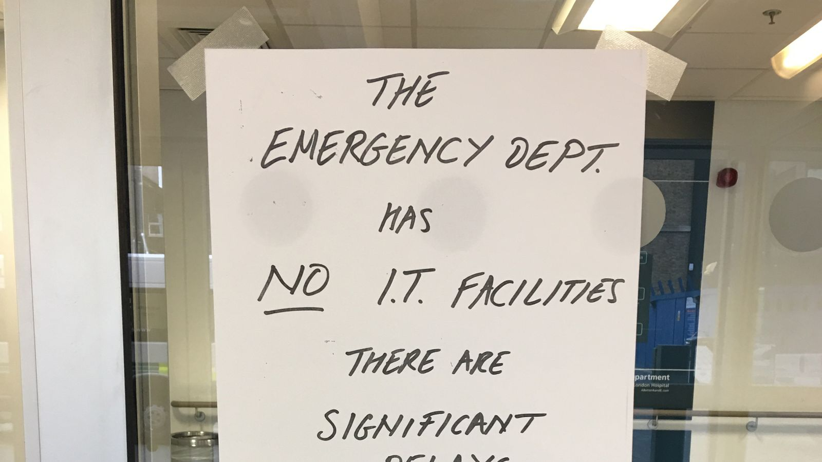 A sign posted on the door of the Royal London Hospital