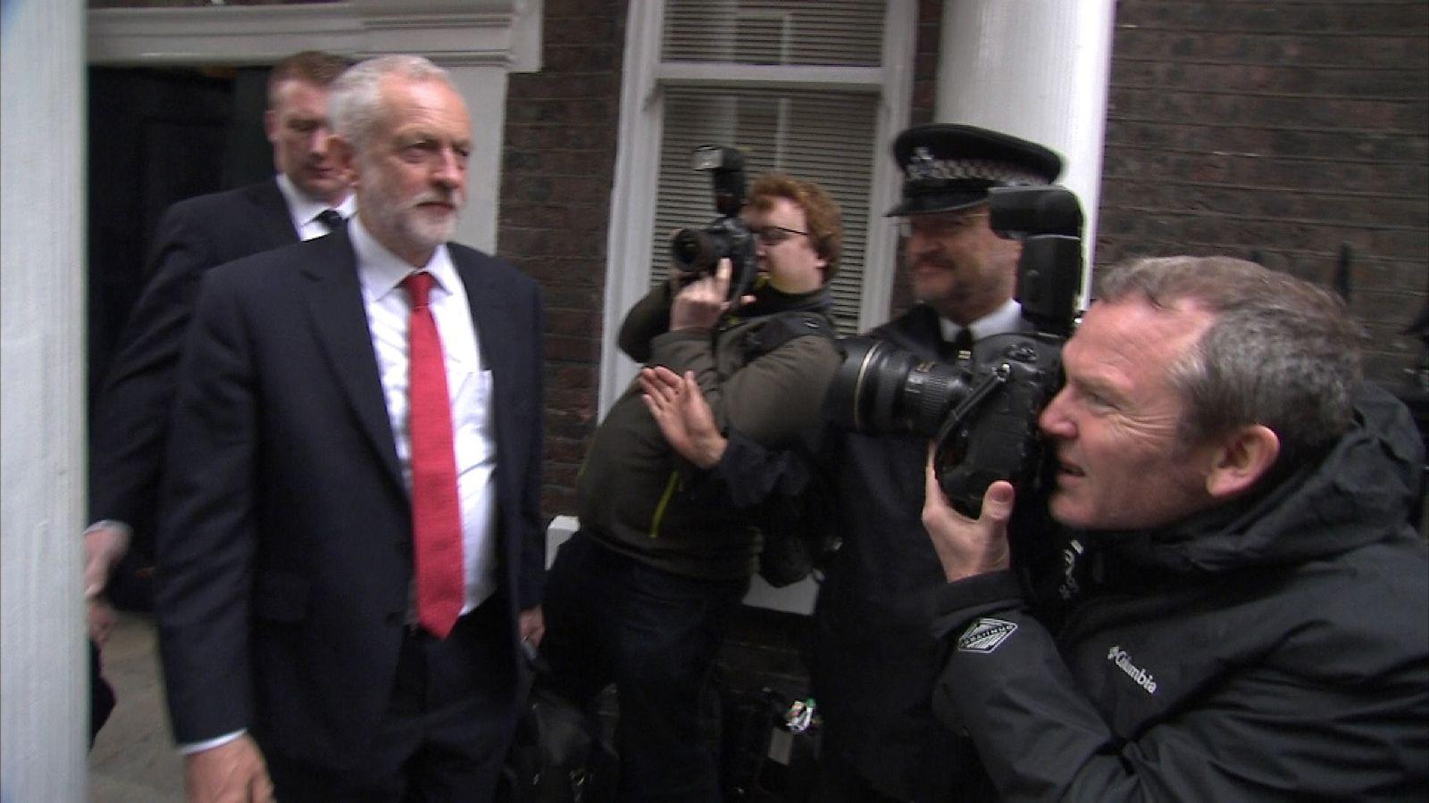 Jeremy Corbyn leaving Chatham House
