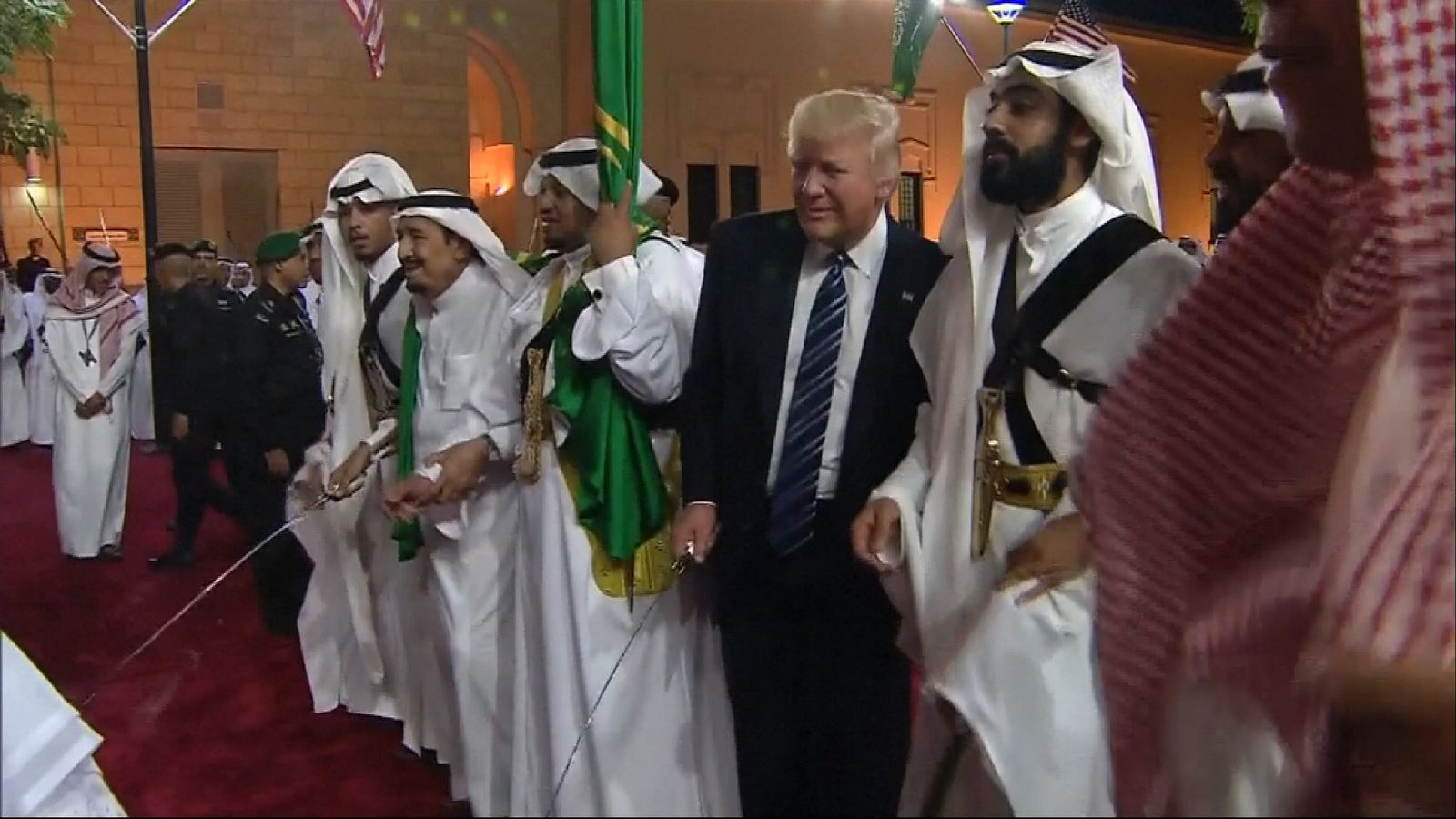 President Trump gets his bounce on as he performs a traditional Saudi sword dance